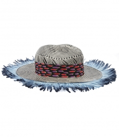 SILK, PAPER & COTTON BLEND FRINGED WOVEN HAT