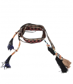 EMBROIDERED COTTON BELT FT TASSELS