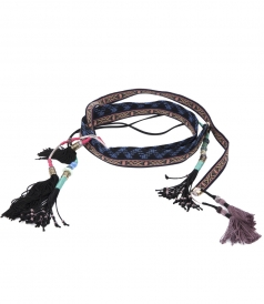 EMBROIDERED COTTON BELT FT TASSELS AND BEADS