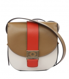COLOR BLOCK SATCHEL WITH FOLDOVER CLOSURE