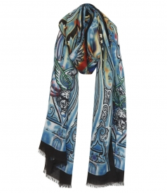PURE SILK PRINTED SCARF FT FRINGED TRIM