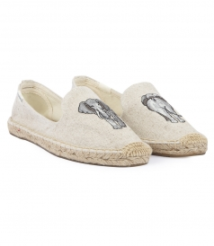ELEPHANT EMBROIDERED SMOKING SLIPPER ESPADRILLES