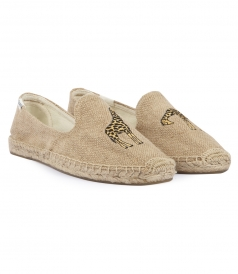 GIRAFFE EMBROIDERED SMOKING SLIPPER ESPADRILLES