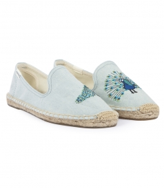 PEACOCK EMBROIDERED SMOKING DENIM SLIPPER ESPADRILLES