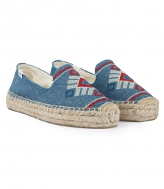 SHOES - YUCATAN GEOMETRIC EMBROIDERED SMOKING SLIPPER ESPADRILLES