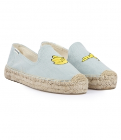 SHOES - BANANA EMBROIDERED PLATFORM SMOKING DENIM SLIPPER ESPADRILLES