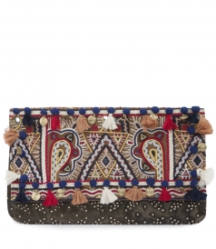 STATEMENT DOCTOR CLUTCH FT ETHNIC PRINT & BEADED EMBROIDERY