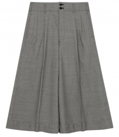 CROPPED WIDE LEG PANTS IN PATTERNED WOOL