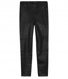 CLASSIC SKINNY FIT HIGH RISE CROPPED LEATHER PANTS