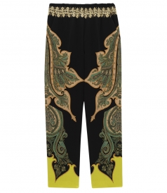 LOOSE FIT PAISLEY PRINTED PANTS IN SILK BLEND WITH ELASTIC WAIST