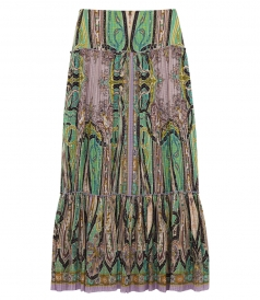 ETRO - MULTICOLORED ABSTRACT PRINTED MAXI SKIRT IN SILK