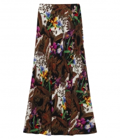 BIRDS-OF-PARADISE PRINTED MAXI SKIRT IN CREPE DE CHINE