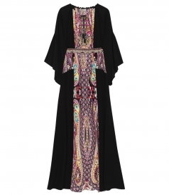 PANELED MAXI DRESS WITH EMBELLISHED BELT IN CREPE DE CHINE