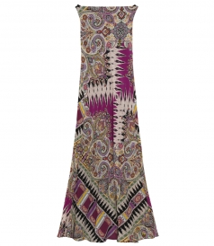 MULTICOLORED MAXI DRESS FT OPEN BACK AND RIBBON DETAIL