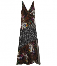PATCHWORK WITH MIXED FLORAL DESIGNS MAXI DRESS IN SILK