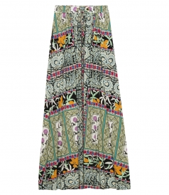 MIXED PRINTS MAXI SKIRT WITH DRAWSTRING WAIST IN SILK