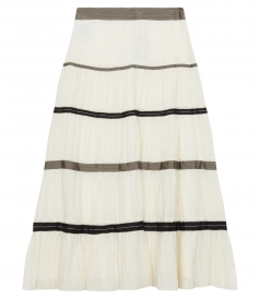 TEXTURED MAXI SKIRT IN SILK WITH MIXED STRIPES