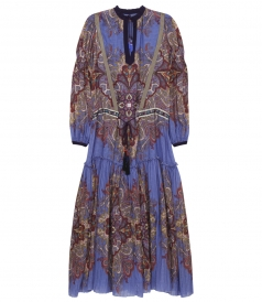 PAISLEY PRINTED MAXI DRESS FT EMBROIDERED WAIST & TASSELS