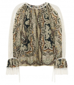 ETRO - PRINTED BLOUSE WITH LACE INSERTS IN COTTON SILK BLEND