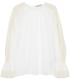 ETRO - CREW NECK BLOUSE WITH LACE INSERTS FT BALLOON SLEEVES