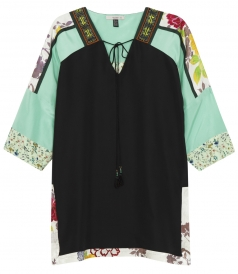 SILK TUNIC TOP FT FLORALS MOTIFS TASSELS & BEADED EMBROIDERIES