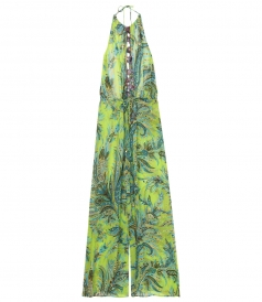 PAISLEY PRINTED OPEN BACK JUMPSUIT FT TASSELS ON NECKLINE