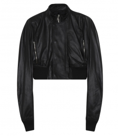 BLACK GLITTER EGON CROPPED LEATHER BOMBER FT STAND UP COLLAR