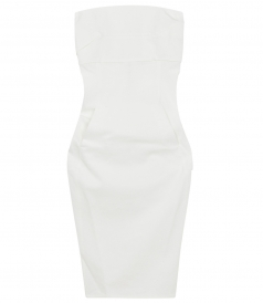 STRAPLESS FITTED MIDI DRESS IN COTTON BLEND