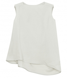 NOUVEAU STRUCTURED SLEEVELESS ASYMMETRIC TOP IN LINEN