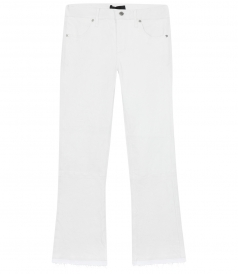 KIKI CROPPED LEATHER PANTS FT FRINGED HEM