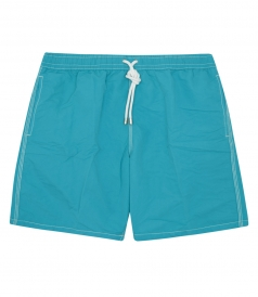 CLOTHES - SOLID SWIM SHORTS WITH SIDE POCKETS & DRAWSTRING WAIST