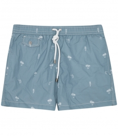 PALM PRINTED SWIM SHORTS WITH ELASTICATED WAIST