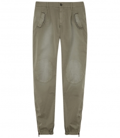 CLOTHES - PATCHED TROUSERS WITH RIBBED HEM