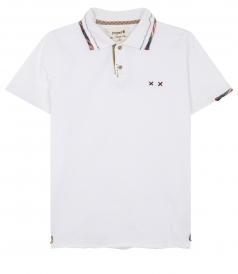 BOHO SHORT SLEEVE POLO FT COLLAR CHECKED TRIMMING