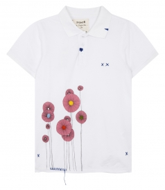 BOHO SHORT SLEEVE POLO FT PRINTED FLOWERS WITH POMPONS