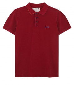 HEAVY MENDING SLIM FIT SHORT SLEEVE POLO FT STITCH DETAILING