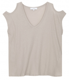 CLOTHES - KAHYS COTTON & SILK BLEND TEE FT CUTOUT SHOULDER DETAILS