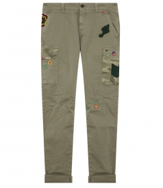 CHILE CARGO PATCHED TROUSERS IN STRETCH GABARDINE
