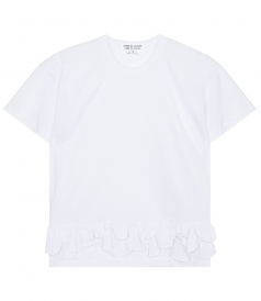 CLOTHES - COTTON JERSEY SHORT SLEEVE T-SHIRT WITH RUFFLED HEM