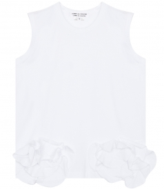 COTTON JERSEY SLEEVELESS TOP WITH RUFFLED HEM