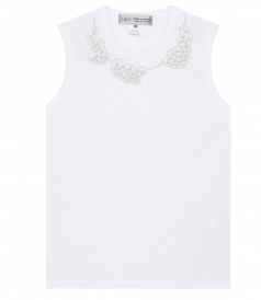 TOPS - JUPE BY JACKIE SLEEVELESS TOP WITH METALLIC PEARLS EMBELISHMENT
