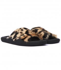 LEOPARD FUR POOL SLIDE FLATS