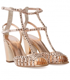 ANKLE STRAPED SANDALS FT STUDDED EMBELLISHMENT & SHUNKY HEEL