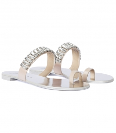 SILK & LEATHER TOE STRAP CRYSTAL EMBELLISHED SANDALS