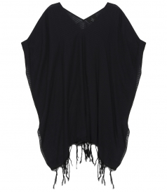 LUMA PONCHO COVERUP FT ROLLED SLEEVES IN WOVEN COTTON GAUZE