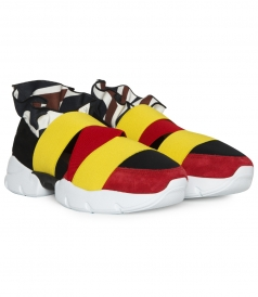MULTICOLOR LOW TOP SNEAKERS FT COLOR BLOCK ELASTIC STRAPS