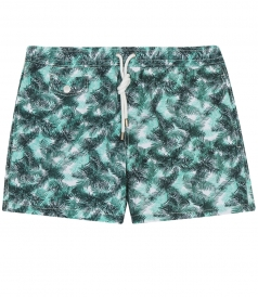 MULTICOLORED LEAVES PRINTED SWIM SHORTS