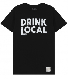 CLOTHES - DRINK LOCAL PRINTED CREWNECK TEE IN COTTON