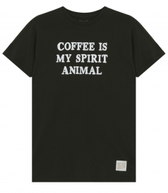CLOTHES - COFFEE IS MY SPIRIT ANIMAL PRINTED CREWNECK TEE IN COTTON