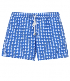 GEOMETRIC ALL OVER PRINTED SWIM BOXERS FT SIDE POCKETS